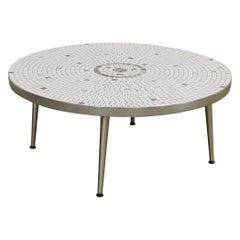 Mid-Century Modern Atomic Round Tile Top Coffee Table