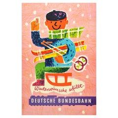 Original Vintage German Railway Poster DB Deutsche Bundesbahn Winter Wishes Ski