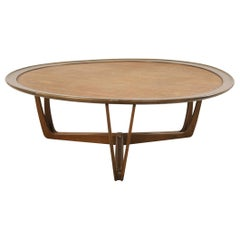 American Mid-Century Wooden Frame Wicker Top Coffee Table