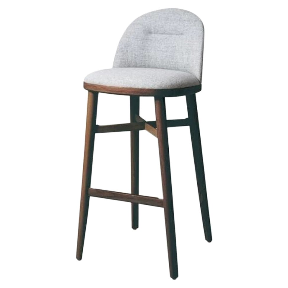Bund Counter Stool by Stellar Works with Walnut Stained Ash & Fabric Upholstery