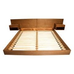 Custom Made New Danish Modern King Walnut Platform Bed with Floating Nightstands