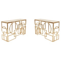 American Mid-Century Gilt Metal and Glass Geometric Console Table