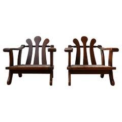 Pair of Mid-Century Wooden Dutch Armchairs
