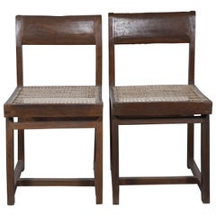 Pierre Jeanneret 2 Box Chairs with Letters from Chandigarh Authentic Mid-Century