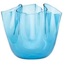 Clear Blue Glass Fazzoletto Vase by Venini