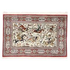 Vintage Persian Silk Qum Hunting Rug with Medieval Style
