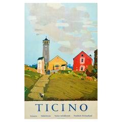 Original Vintage Travel Poster Ticino Tessin Switzerland Alps Village Mountains