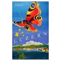 Original Vintage Poster Luzern Switzerland Travel Lucerne Lake Alps Butterfly