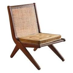 Pierre Jeanneret Model LC-010620 Teak Low Chair Chandigarh, Circa 1956