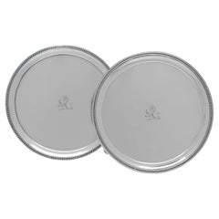 William Stroud, Antique Sterling Silver Pair of Salvers, London, 1806/1807