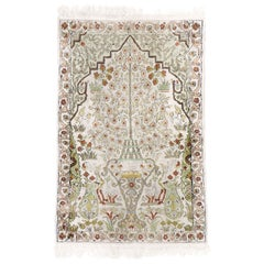 Vintage Persian Qum Vase Prayer Rug