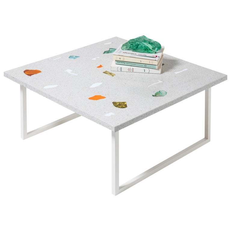 Contemporary Customizable Square Basis Rho Neoterrazzo Coffee Table For Sale