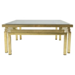 Brass and Smoked Glass Cofee Table by Romeo Rega, 1970s