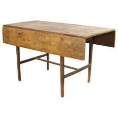 American Country Rustic Pine Wood Drop Leaf Dining Table