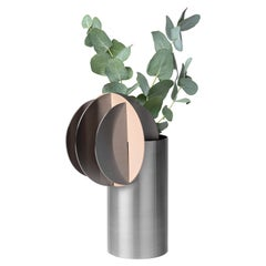 Modern Vase Delaunay CS11 by Noom in Brushed Stainless Steel