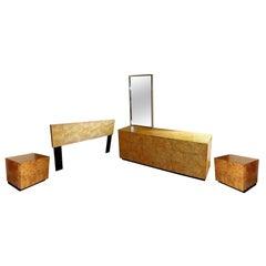 Mid-Century Modern Milo Baughman Burl Wood Bedroom Set Dressers Nightstands 80s