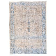 Antique Persian Heriz Handmade Allover Geometric Beige And Blue Wool Rug