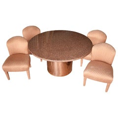 1980s Round Post Modern Pink Stone and Rose Gold Dining Set, Seats 4