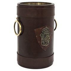 Leather and Brass Waste Basket or Umbrella Stand with Coat of Arms