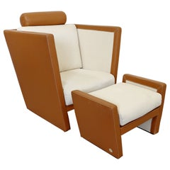 Contemporary Modern Fendi Casa Italian Lounge Chair & Ottoman Set 1990s Leather