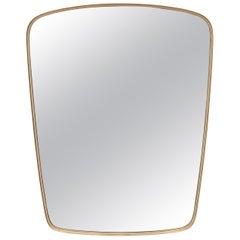 Large Mid Century Brass Wall Mirror by Münchner Zierspiegel 1950s