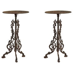 Pair of American Victorian Outdoor Iron End Tables