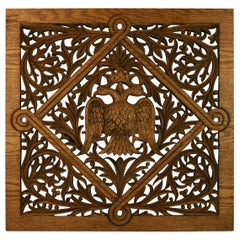 German Double Eagle and Leaves Carved Oak Panel