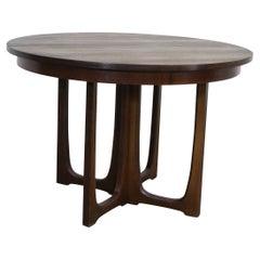 Mid-Century Modern Round Walnut Brasilia Dining Table w Sculpted Base