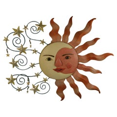 Sun Moon  and  Stars Metal Wall Sculpture