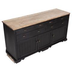 19thC Country House Ebonised Pine Dresser Base
