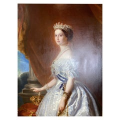 19th Century German Oil on Canvas of Empress Eugenie in a White Court Dress