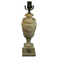 Italian Alabaster Lamp with Leaf Motif