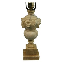 Italian Alabaster Lamp with Rose and Leaf Motif
