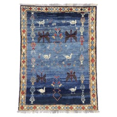 Vintage Persian Gabbeh Rug with Tribal Style