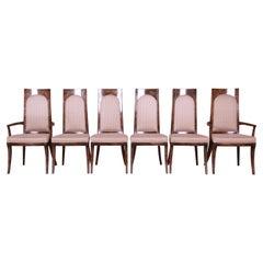 Mastercraft Mid-Century Hollywood Regency Burl Wood Dining Chairs, Set of Six