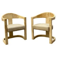 """Karl Springer Pair of """"Onassis Chairs"""" in Lacquered Goatskin, 1970s"""