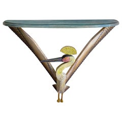 Bird Console Painted Wood by Gérard Rigot, France, 1980s