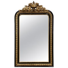 19th Century Louis Philippe Carved Two-Tone Blackened and Gilt Wall Mirror