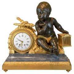 Gilt Bronze and Marble Figural Clock by Beurdeley