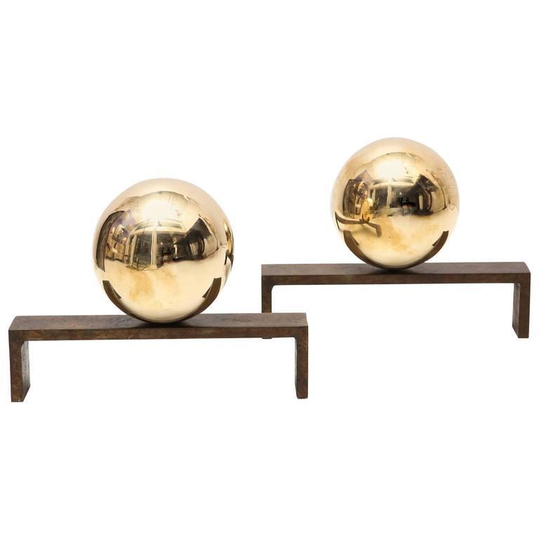 "Marie Suri ""Luna"" Andirons in Bronze For Sale"