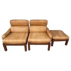 Pair of Mid-Century Leather Lounge Chairs with Ottoman
