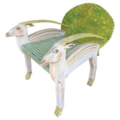 Antelope Armchair Painted Wood by Gérard Rigot. France, 1980s