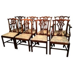 Set of Eight Antique English Mahogany Dining Chairs
