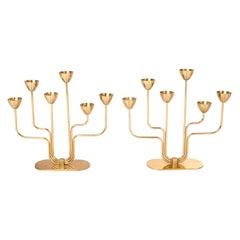 Gunnar Ander for Ystad Metall Brass Candle Holders Candelabras