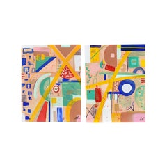 """Amanda Pendarvis Abstract Mixed Media Diptych on Canvas, """"Mod Disposition"""" 2021"""