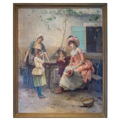 Fine Painting of Women and Children by Émile Auguste Pinchart