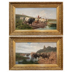 Pair of 19th Century Framed Oil on Canvas Cow Paintings Signed A. de Simoni