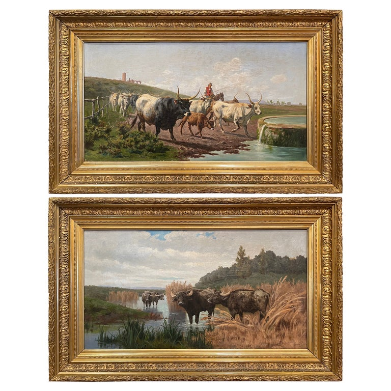 Pair of 19th Century Framed Oil on Canvas Cow Paintings Signed A. de Simoni For Sale