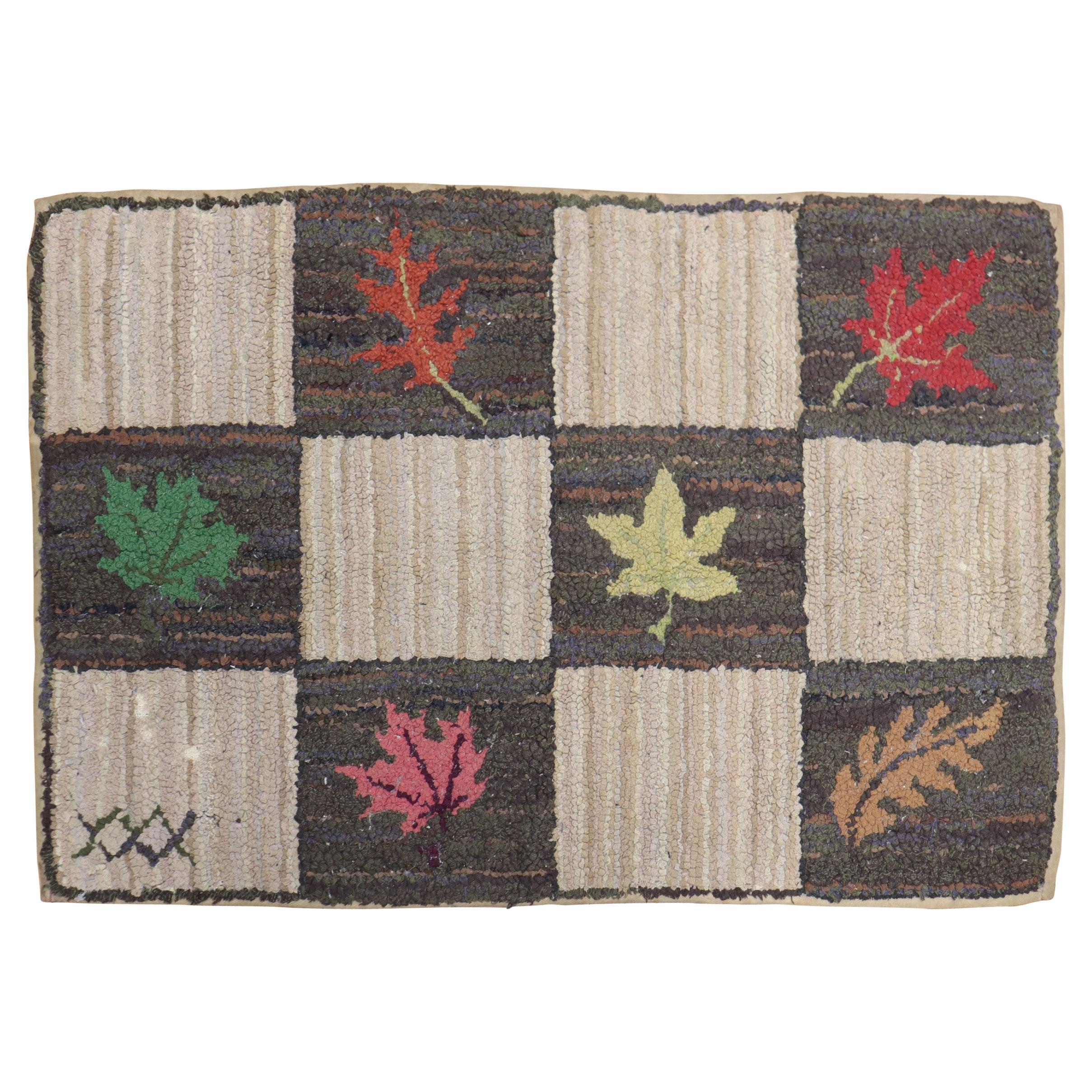 American Hooked Floral Rug