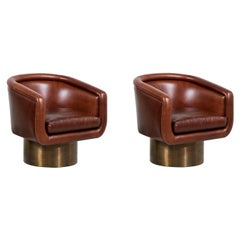 Leon Rosen Cognac Leather Swivel Chairs with Bronze Bases for Pace